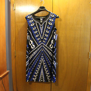 Catherines1XWP  blue black and white dress NWT